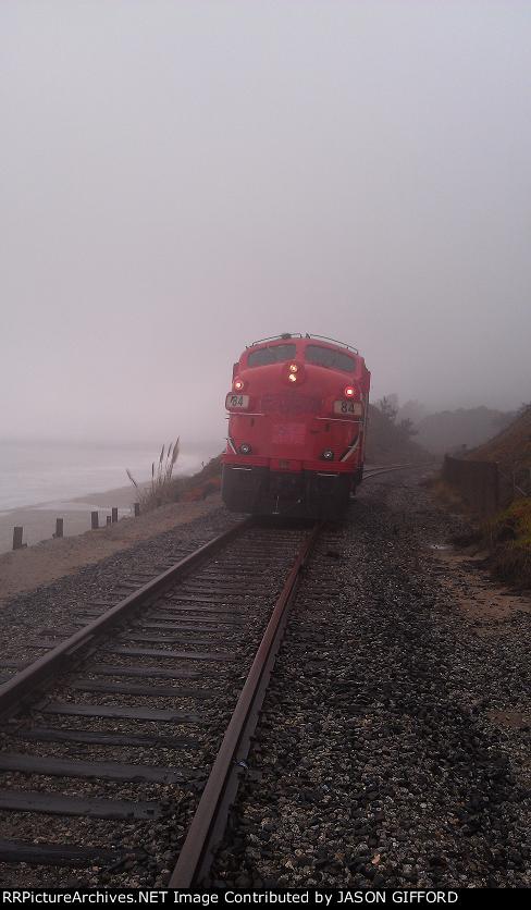 California coast in the rain