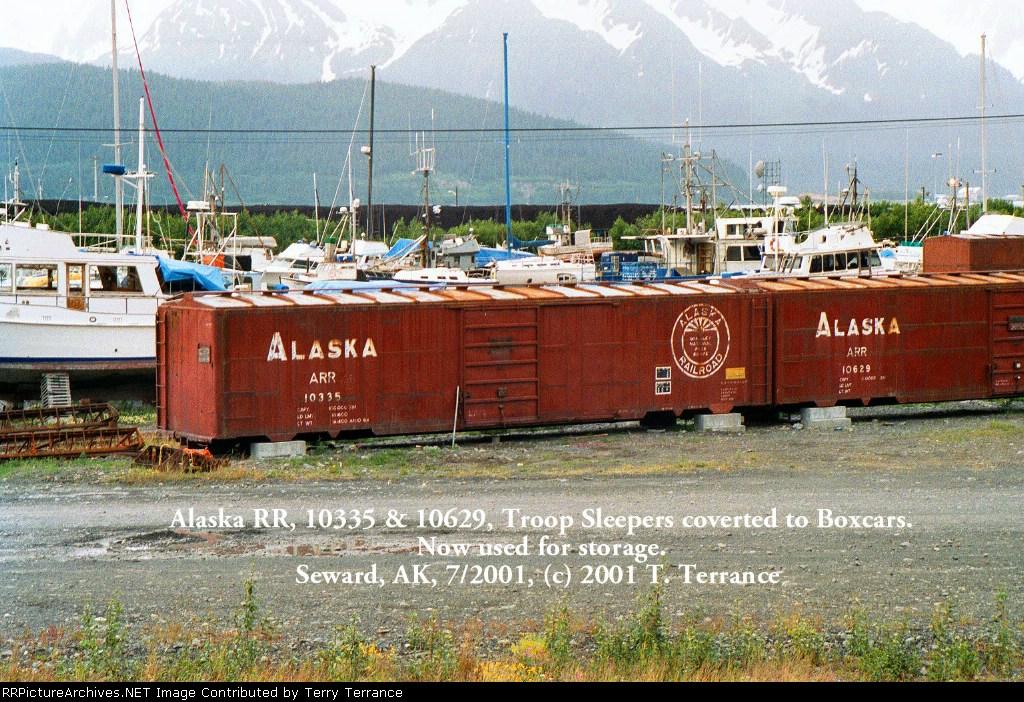 Alaska RR, 10335 & 10629, ex-Troop Sleepers, now used for storage
