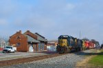4 locos pass the Wapak B&O Depot
