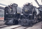 UP 844 and SSW 819 sit side by side at the 1990 NRHS convention,