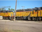 Union Pacific GP38-2 no. 2528 and SD60M no. 2458 on servicing tracks at Union Pacific's Salina, Kansas yard