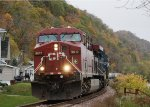 CP #9817 Slowly Rolls Thru the Bluffs Along the Mississippi River