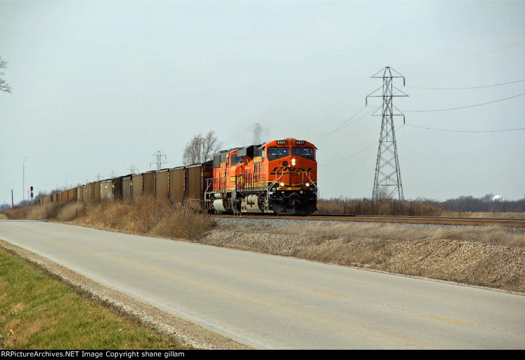 BNSF 6421 Heads up a coal load.