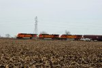 BNSF 7659 heads up a EB grain train Toward town.