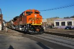 BNSF 9105 crosses the 8th Street crossing as she heads eastward with a Loaded Coal Train. (I Caught Myself in this photo)