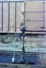 Lighted switch stand in MEC South Portland Yard
