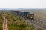 UP AC45CCTE 7881 hustles a stack train west towards Deming, NM.