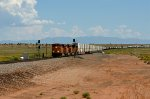 BNSF 7726 (ES44DC) pulls a mix of stacks and pigs through Rio Puerco, NM
