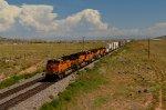 BNSF 7914 (ES44DC) rolls west toward I-40 at Highland Meadows, NM.