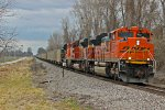 BNSF 9261 Takes a Nb Empty Slc Out of town.