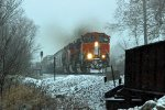 BNSF 1016 heads into the snow at Mp60,