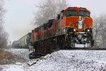 BNSF 1016 Heads into the Snow With a freight,
