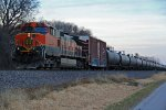 BNSF 1007 works dpu on a empty oil train,
