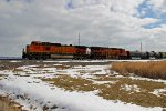 BNSF 5053 Leads a Slow freight into Town.