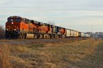BNSF 7025 heads into the setting sun.
