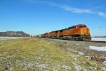 BNSF 5418 Heads into the mid day sun.