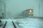 BNSF 9193 Heads into a snow storm.