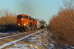 BNSF 6757 leads a Freight Nb into the evening Sun.
