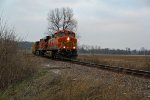 BNSF 7666 Heads a Small freight Sb.