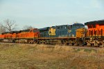 BNSF 7831 and csx 5389 trail on a Nb freight.