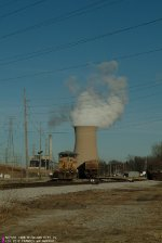 "NIPSCO ""CLOUD FUNNEL"" POWER PLANT COOLING TOWER BEHIND UP 6740 AND NORX CARS AT MICHIGAN CITY"