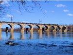 """CSX 4418 6428 2333 W014-29 """"Rail Train"""" Crossing the Delaware River"""