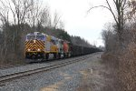 CREX 1312 leads N903 through Wells as the helpers wait at the west end of the siding