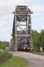 Z117 rolls off the bridge over the Saginaw River