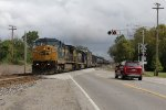With the rear end clear of Tappan, CSX 7743 & 8055 throttle up leading D710 west