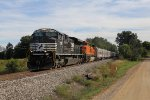 NS 1031 & BNSF 915 roll north on the Grand Elk with the circus train in tow