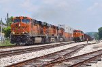 BNSF containers pass hopper train