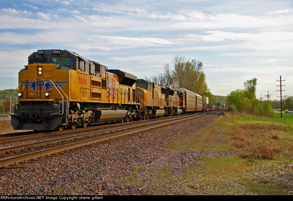 UP 8684 leads a Eb stack train.