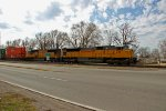 UP 3587 leads a stack train out of Dupo Il,