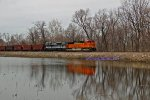 BNSF 9218 Leads Ns 1070 on a empty coal.