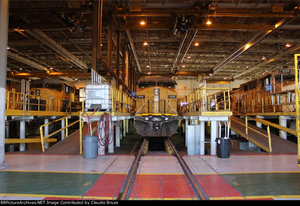 UP 6916 awaiting service at North Platte engine shop