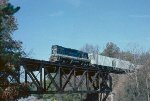 Train #68 is crossing the bridge over HWY 76 at Sandy Springs.