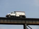 NS Highrailer on bridge over I-77