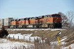 BNSF 6908 Leads a Slow moving stack EB.