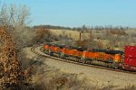 BNSF 7271 Heads up hill at hart mo.