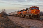 BNSF 7272 heads into the setting sun.