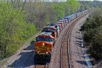 BNSF 5086 Heads down grade and hill!!