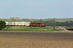 BNSF 4396 Heads Wb with stacks!!