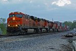 BNSF 7394 Leads a stack EB into last light.