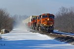BNSF 7302 Heads EB Leaning into the curve.