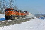 BNSF 7235 Heads Wb Kicking up snow.