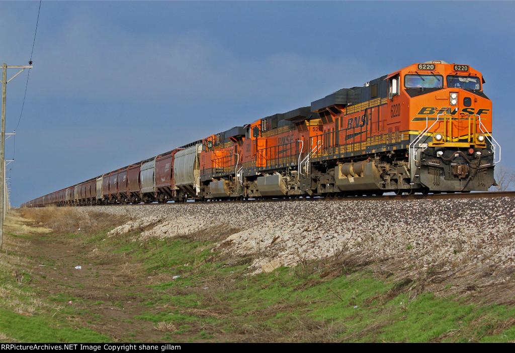 BNSF 6220 Leads a EB grain train.
