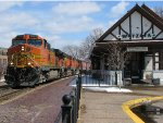 130423007 Westbound BNSF worm train passes Wayzata Depot