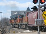 130423012 Westbound BNSF worm train crosses Grove Lane / Barry Ave