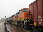 130503005 Westbound BNSF manifest passes Wayzata Depot in heavy May snow