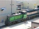 130704010 BNSF 3447 shuffling repaired engines at Northtown diesel shop